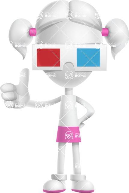 Cute Vector 3D Schoolgirl Cartoon Character AKA Annie Pigtails - 3D Glasses