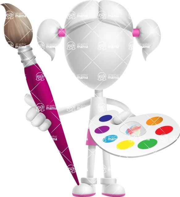 Cute Vector 3D Schoolgirl Cartoon Character AKA Annie Pigtails - Artist