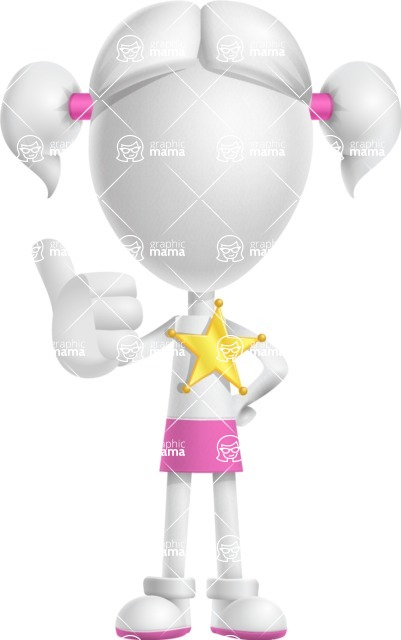 Cute Vector 3D Schoolgirl Cartoon Character AKA Annie Pigtails - Sheriff