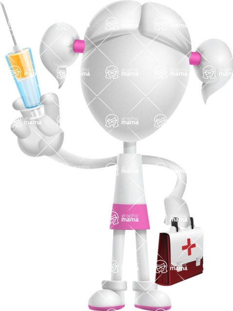 Cute Vector 3D Schoolgirl Cartoon Character AKA Annie Pigtails - Doctor