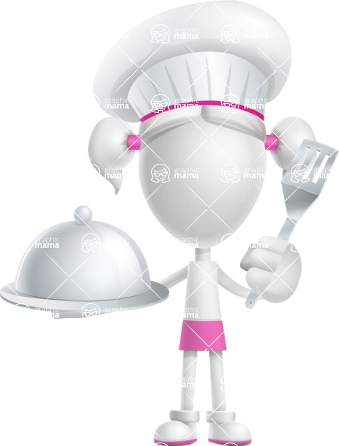 Cute Vector 3D Schoolgirl Cartoon Character AKA Annie Pigtails - Chef