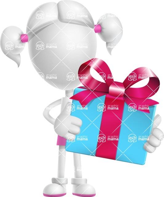 Cute Vector 3D Schoolgirl Cartoon Character AKA Annie Pigtails - Gift