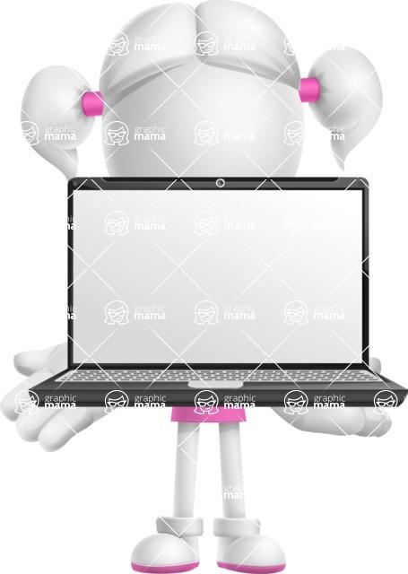 Cute Vector 3D Schoolgirl Cartoon Character AKA Annie Pigtails - Laptop 1
