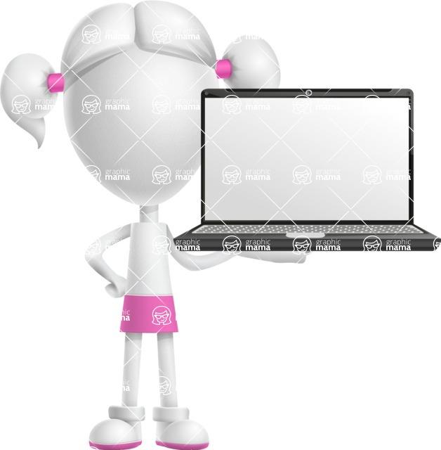 Cute Vector 3D Schoolgirl Cartoon Character AKA Annie Pigtails - Laptop 2
