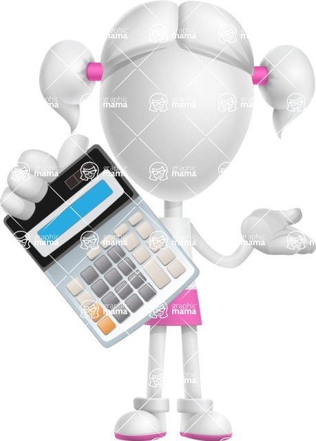 Cute Vector 3D Schoolgirl Cartoon Character AKA Annie Pigtails - Calculator