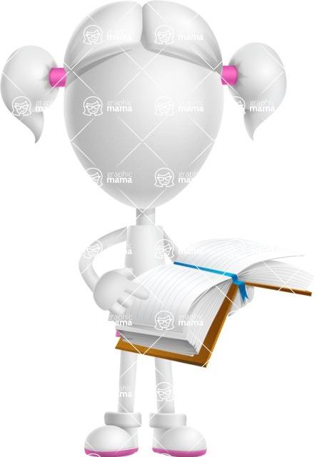Cute Vector 3D Schoolgirl Cartoon Character AKA Annie Pigtails - Book 1