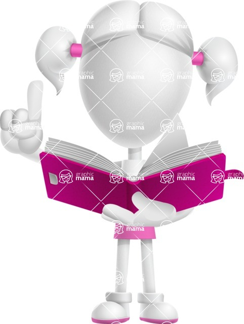 Cute Vector 3D Schoolgirl Cartoon Character AKA Annie Pigtails - Book 2