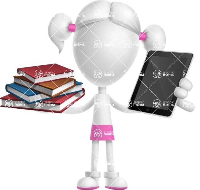 Cute Vector 3D Schoolgirl Cartoon Character AKA Annie Pigtails - Book and iPad