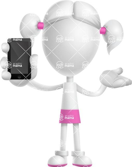 Cute Vector 3D Schoolgirl Cartoon Character AKA Annie Pigtails - iPhone