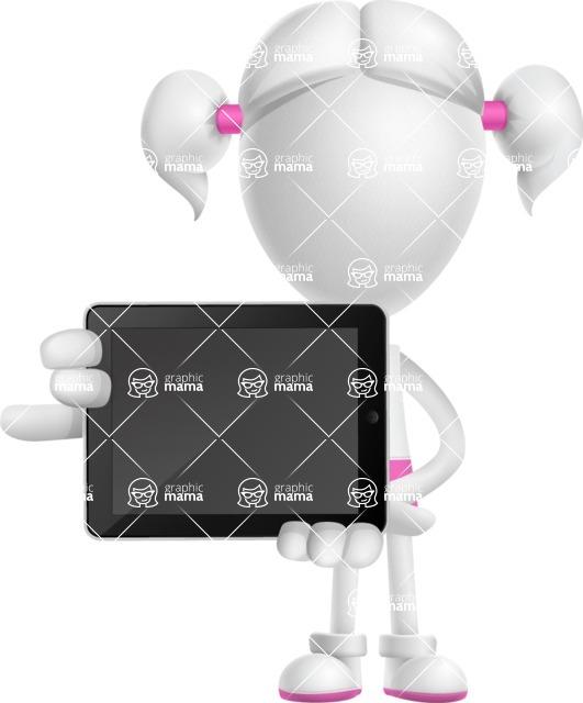Cute Vector 3D Schoolgirl Cartoon Character AKA Annie Pigtails - iPad 2