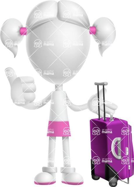 Cute Vector 3D Schoolgirl Cartoon Character AKA Annie Pigtails - Travel