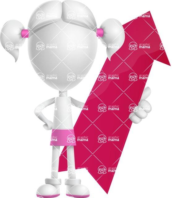 Cute Vector 3D Schoolgirl Cartoon Character AKA Annie Pigtails - Arrow 1