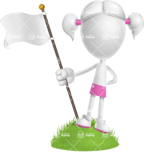 Cute Vector 3D Schoolgirl Cartoon Character AKA Annie Pigtails - On Top