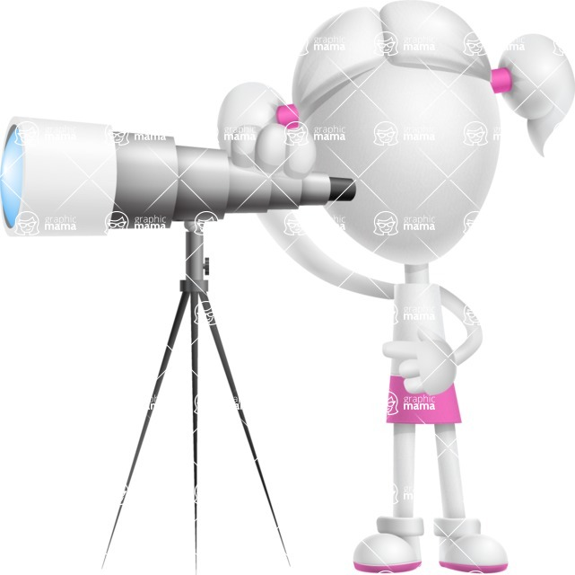 Cute Vector 3D Schoolgirl Cartoon Character AKA Annie Pigtails - Telescope