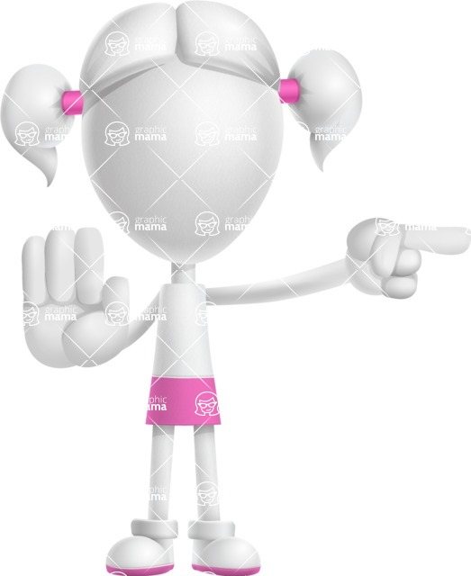 Cute Vector 3D Schoolgirl Cartoon Character AKA Annie Pigtails - Direct Attention