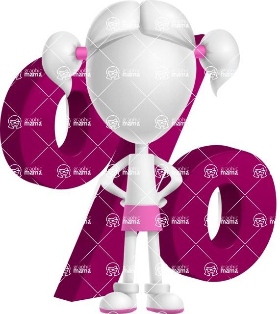 Cute Vector 3D Schoolgirl Cartoon Character AKA Annie Pigtails - Percent