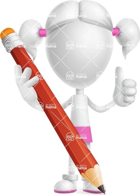 Cute Vector 3D Schoolgirl Cartoon Character AKA Annie Pigtails - Pencil