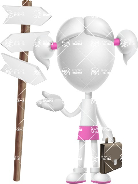 Cute Vector 3D Schoolgirl Cartoon Character AKA Annie Pigtails - Crossroad