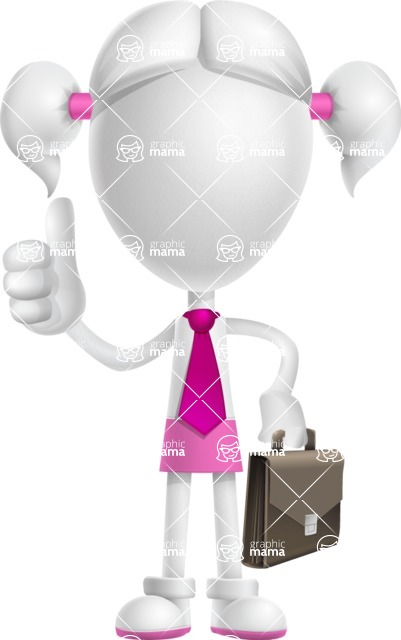 Cute Vector 3D Schoolgirl Cartoon Character AKA Annie Pigtails - Businessman