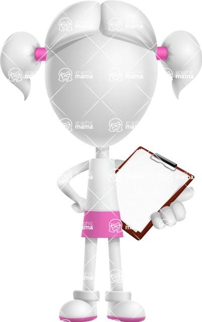 Cute Vector 3D Schoolgirl Cartoon Character AKA Annie Pigtails - Notepad 2
