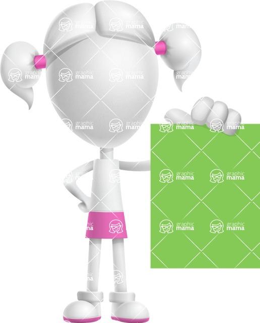 Cute Vector 3D Schoolgirl Cartoon Character AKA Annie Pigtails - Sign 3