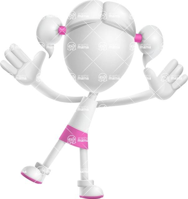 Cute Vector 3D Schoolgirl Cartoon Character AKA Annie Pigtails - Happy