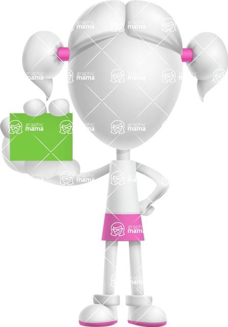 Cute Vector 3D Schoolgirl Cartoon Character AKA Annie Pigtails - Sign 5