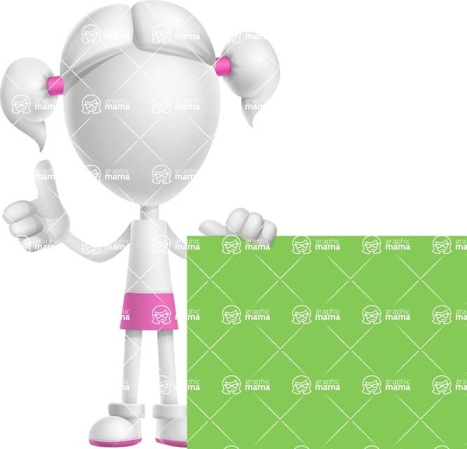 Cute Vector 3D Schoolgirl Cartoon Character AKA Annie Pigtails - Sign 7
