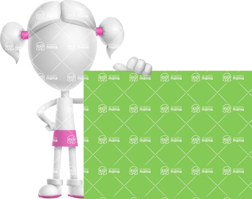 Cute Vector 3D Schoolgirl Cartoon Character AKA Annie Pigtails - Sign 8