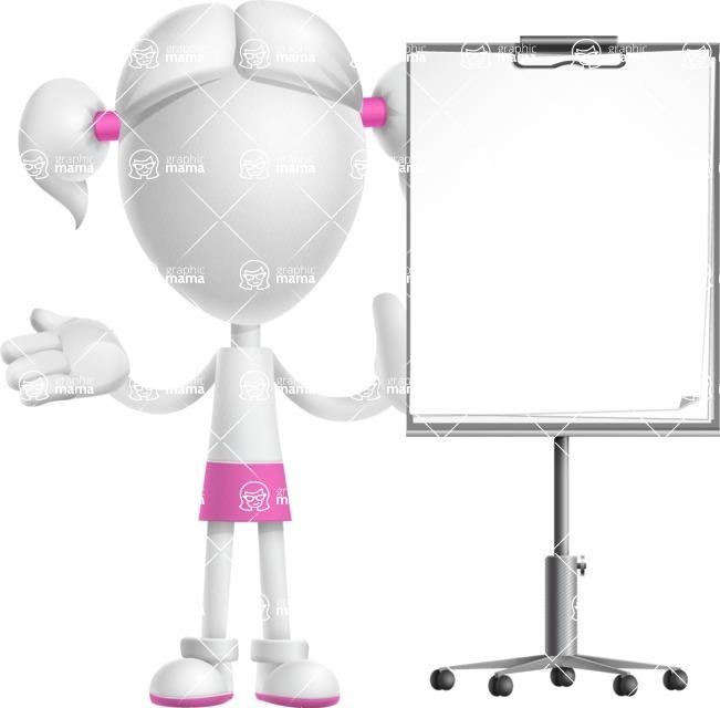 Cute Vector 3D Schoolgirl Cartoon Character AKA Annie Pigtails - Presentation 1