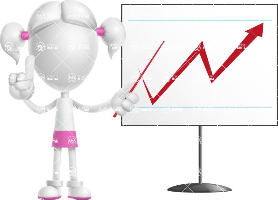 Cute Vector 3D Schoolgirl Cartoon Character AKA Annie Pigtails - Presentation 2
