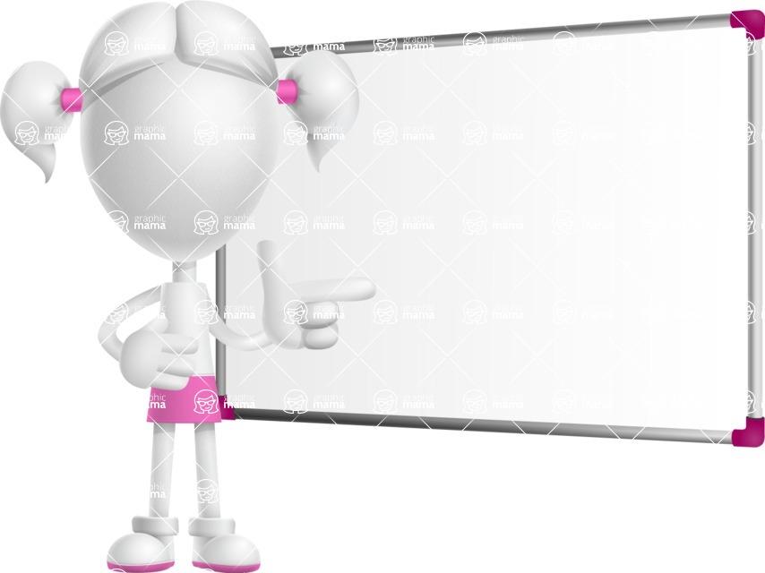 Cute Vector 3D Schoolgirl Cartoon Character AKA Annie Pigtails - Presentation 3