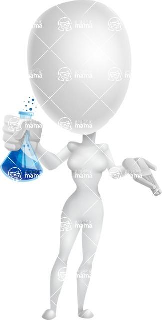 Vector 3D Woman Model Cartoon Character AKA Meisy - Flask