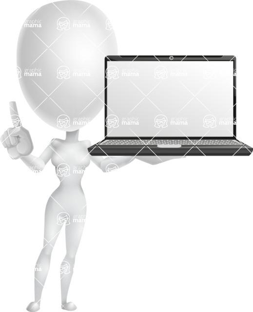 Vector 3D Woman Model Cartoon Character AKA Meisy - Laptop 2