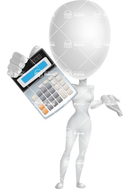 Vector 3D Woman Model Cartoon Character AKA Meisy - Calculator