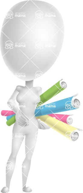 Vector 3D Woman Model Cartoon Character AKA Meisy - Papers