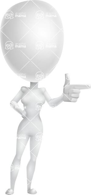 Vector 3D Woman Model Cartoon Character AKA Meisy - Point