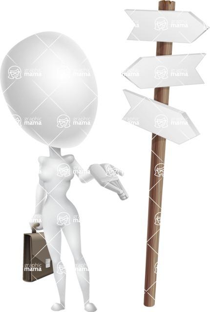 Vector 3D Woman Model Cartoon Character AKA Meisy - Crossroad