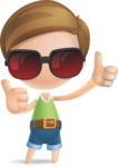 Simple Cute Boy Vector 3D Cartoon Character AKA Little Melvin - Sunglasses