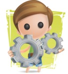 Simple Cute Boy Vector 3D Cartoon Character AKA Little Melvin - Shape 11