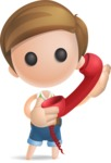 Simple Cute Boy Vector 3D Cartoon Character AKA Little Melvin - Phone