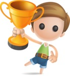 Simple Cute Boy Vector 3D Cartoon Character AKA Little Melvin - Gold Cup