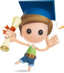 Simple Cute Boy Vector 3D Cartoon Character AKA Little Melvin - Graduation