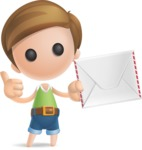 Simple Cute Boy Vector 3D Cartoon Character AKA Little Melvin - Letter