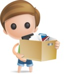 Simple Cute Boy Vector 3D Cartoon Character AKA Little Melvin - Box