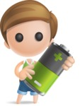 Simple Cute Boy Vector 3D Cartoon Character AKA Little Melvin - Battery