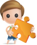 Simple Cute Boy Vector 3D Cartoon Character AKA Little Melvin - Puzzle