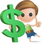 Simple Cute Boy Vector 3D Cartoon Character AKA Little Melvin - Dollar