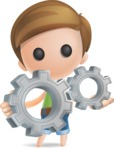 Simple Cute Boy Vector 3D Cartoon Character AKA Little Melvin - Gears