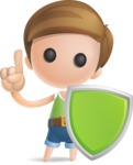 Simple Cute Boy Vector 3D Cartoon Character AKA Little Melvin - Shield